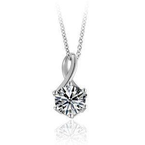 1 Carat Round Diamond Pendant White Gold Jewelry